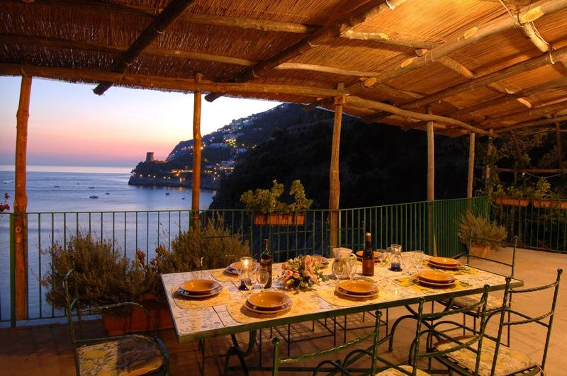 Terrace with view - Wonderful property in Praiano set in the rock overlooking the sea. Swimming pool and access to the sea! - Praiano - rentals