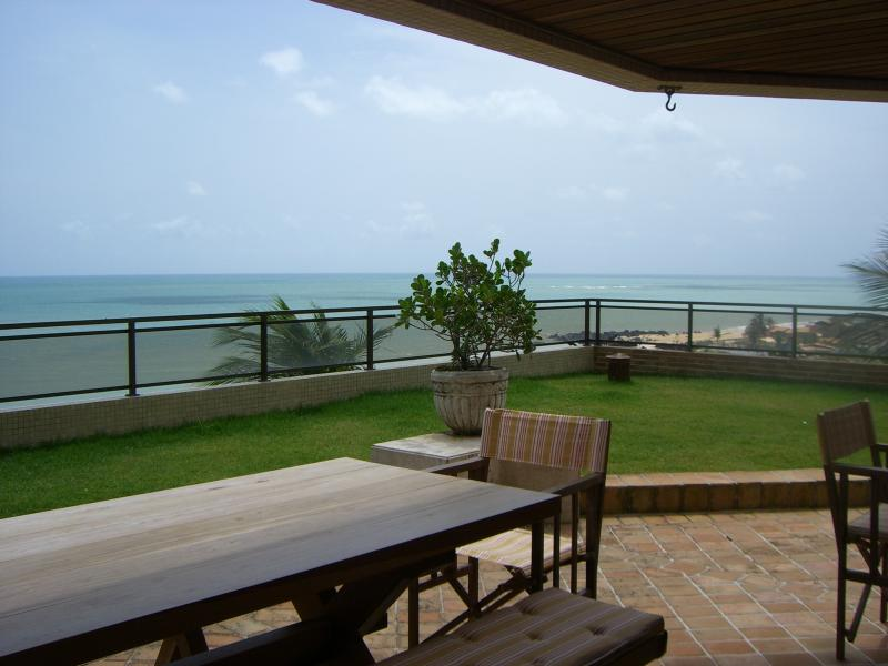 Terrace view - Beachfront, Top Quality, Gated Resort, Flat at 15 kms from Natal (2014 World Cup Host City!) - Governador Celso Ramos - rentals