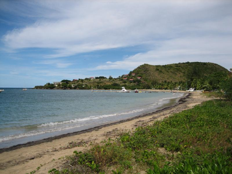 From our path to the beach, see the hotel way down there? - A real Beach House - right on the beach! - Nevis - rentals