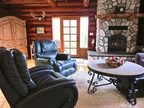Living room with great wood burning fireplace - Handsome Dan's at Otter Point (Pet Friendly) - Sooke - rentals