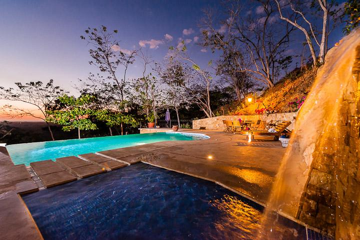 Waterfall, pool and view - Sensational View - Casa Paloma - Playa Negra - rentals
