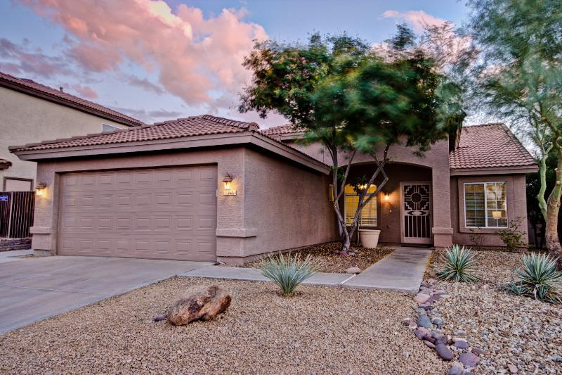 Front View with 2 car garage - 4 BR House with heated pool in Scottsdale Area - Cave Creek - rentals