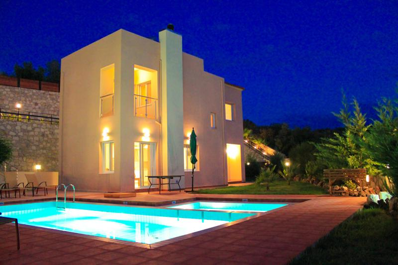 Exterior at Night - Chania Villa to Rent, Private Pool, View, Beach - Chania - rentals