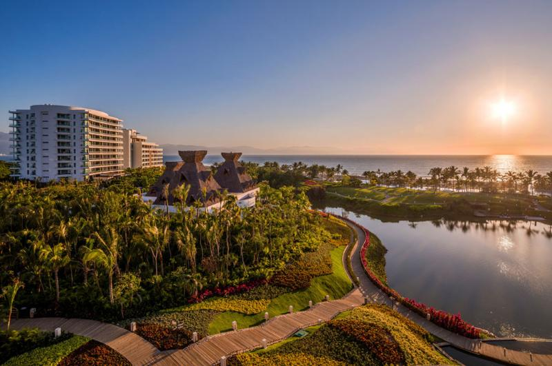 lake view with boardwalk that connects all of the resorts - Pure Luxury Vacation! Grand Mayan studio with golf March 22-29 - Nuevo Vallarta - rentals