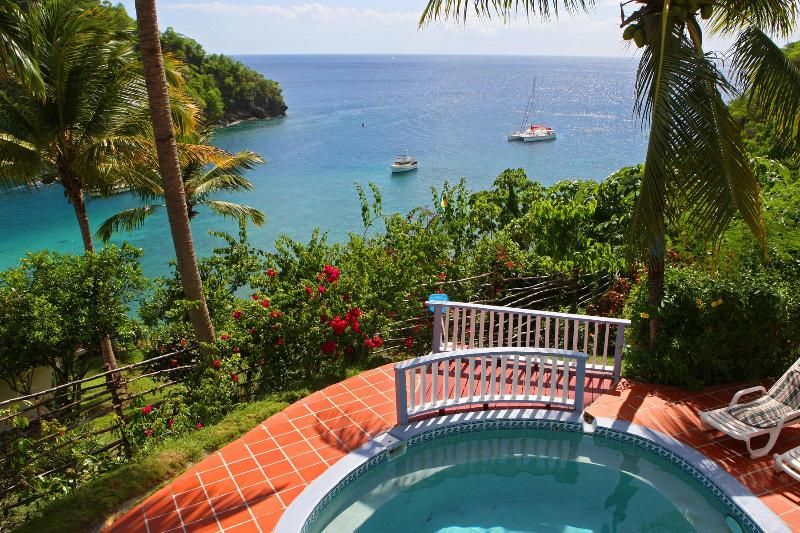 View of the bay and horizon beyond at Ocean Cottage - Ocean Cottage - Perfect Tropical Sunsets - Marigot Bay - rentals