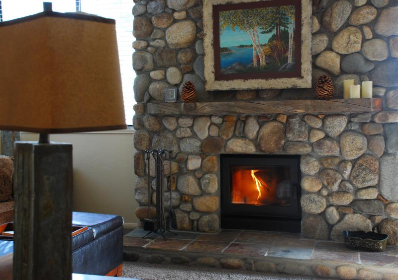 Living room is light and bright, with a wood-burning fireplace - Luxury Condo - Walk to Mammoth Village & Gondola - Mammoth Lakes - rentals