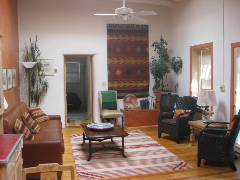 Main Living Area with very high ceilings and natural light - Cozy Downtown House - 3 Blocks from Plaza - Santa Fe - rentals