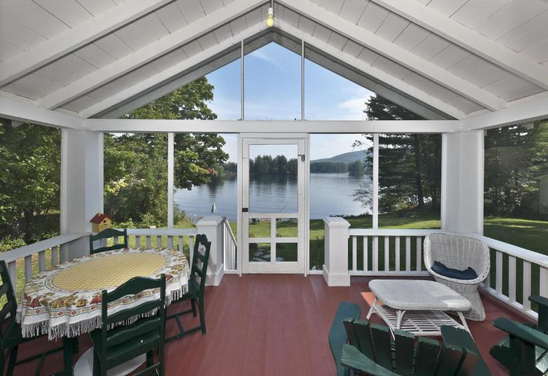 Screened in porch with lake view - Lake Front Cottage w/ Stunning Views, Boats, Wifi! - Wells - rentals