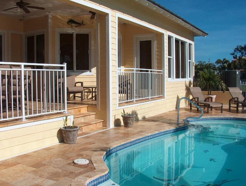 Pool deck and shaded patio - Tarpon Haven KCB ~ New Executive Class 5 Bedroom - Key Colony Beach - rentals
