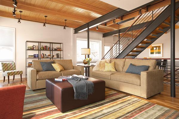 Stylish Living Area with Gas Fire, Queen Sleeper and Access to Deck & Hot Tub - Air Con-Pvt Spa-Outdoor Seating & Dining-Games Rm - Steamboat Springs - rentals