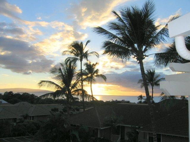 Beautiful sunset view from our lanai - Panoramic Grand Champions ocean view #45; 2BR/2BA - Wailea - rentals