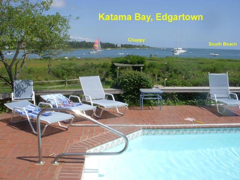 View of Katama Bay over the pool - Edgartown 4 Br. waterfront  w/pool and great views - Edgartown - rentals