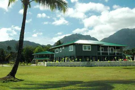 outside of the home looking to the mountains - New Modern Hawaiian Plantation Home Hanalei Town - Hanalei - rentals