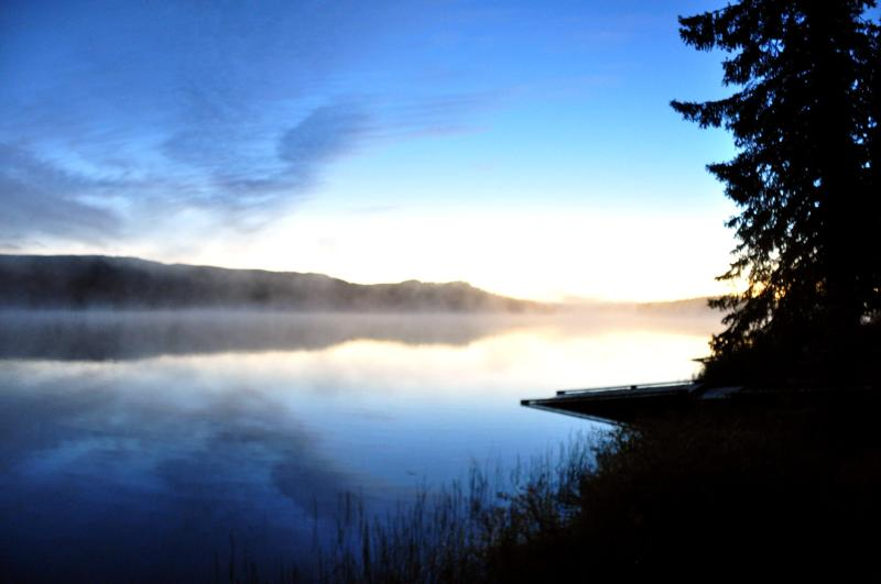 Misty morning view looking east on Finger Lake - Finger Lake Wilderness Resort - Vanderhoof - rentals