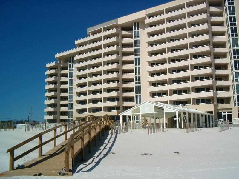 View from Beach, #216 on second floor on right end of building - Gulf Front 2nd Floor Penthouse, 3 bedroom 3 baths - Pensacola - rentals