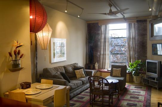 Living room overlooking Patton Avenue with tree outside the window - Asheville Urban Nest - Asheville - rentals