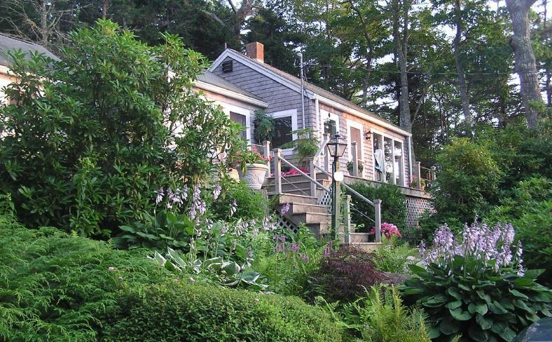 Paradise Cottage in evening light, the garden in August - Cottage n Perennial Gardens w Beach on Linekin Bay - East Boothbay - rentals