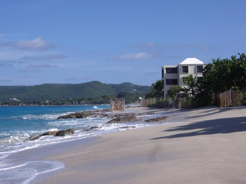 Condo on right with view toward Frederiksted - Beautiful St. Croix Beachfront Condo Frederiksted - Frederiksted - rentals