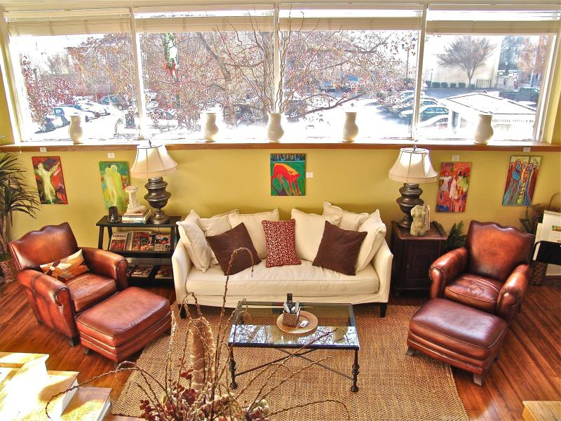 Living Room - View From Dining Area - Stunning 2 Bedroom Loft in Downtown Asheville! - Asheville - rentals