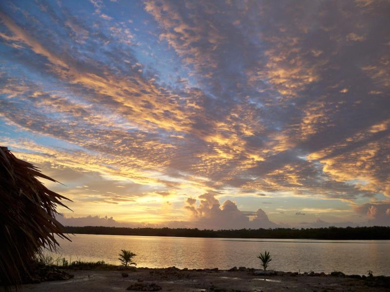 sunrise over the lagoon - 1 bedroom house on the Four Mile lagoon in Corozal - Corozal Town - rentals