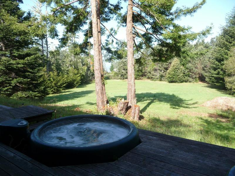 Hot Tub and view from Master Bedroom Deck area - MendoMeadow:Spacious, Private, Slice of Ocean View - Mendocino - rentals