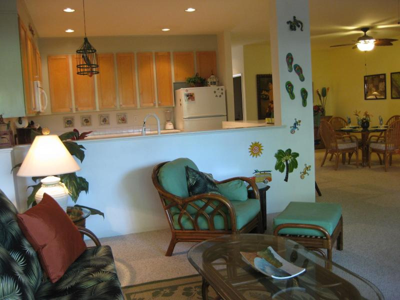 Living Room with Kitchen and Dining Room beyond - Poipu, large 2/2, pool, walk to beach, free wi-fi - Koloa-Poipu - rentals