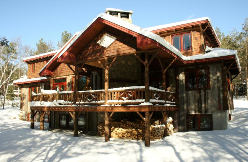 Camp Twiggy covered in snow - Camp Twiggy, Exquisite Adirondack Retreat, 5+ BR - Lake Placid - rentals