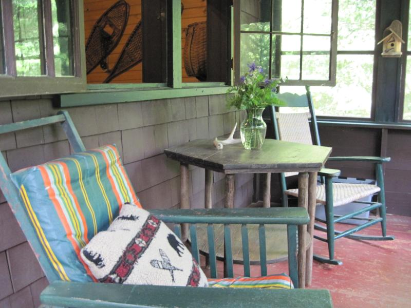 Cabin front porch, screened in - Private Adirondack Cabin /$850 week - Lake Clear - rentals