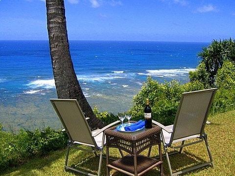 Happy Hour on the bluff just outside - Ocean Bluff Condo - Princeville - rentals