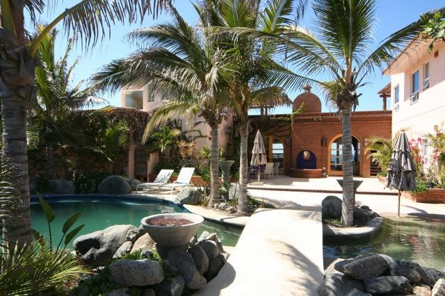 Entrance and beautifully landscaped oasis - Oceanfront home with pool on private Pacific beach - Cabo San Lucas - rentals