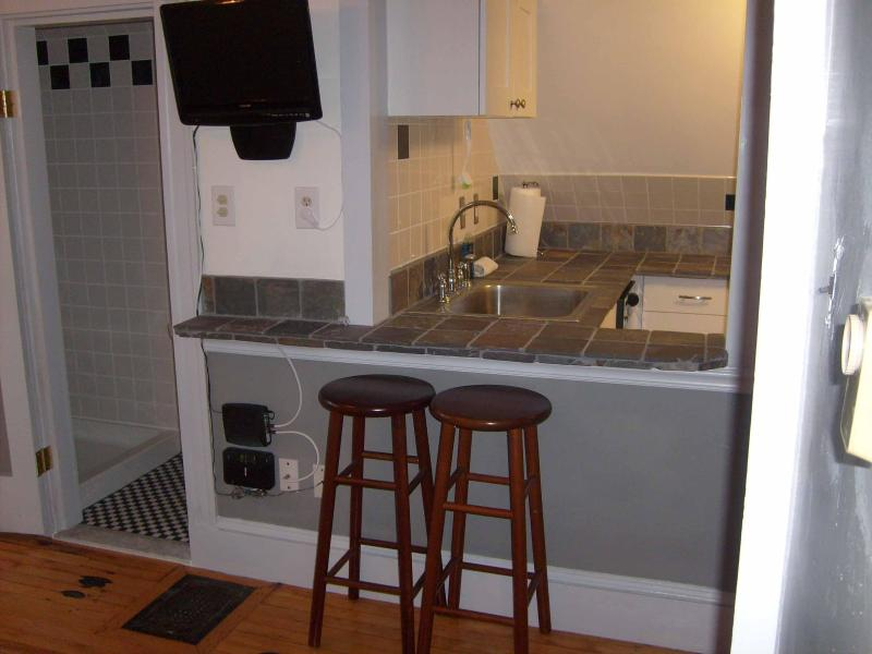 Breakfast Bar - Main Studio is Open to the kitchen or can be closed off - Private Studio Apartment Near Harvard Business &BU - Boston - rentals