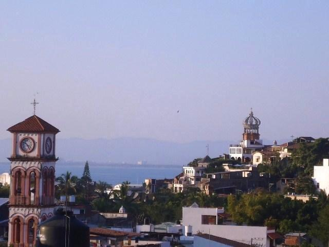 View from 3rd floor terrace towards Santa Cruz church and Our Lady Guadalupe Cathedral downtown - Old Town Location, Close to Beach and Shopping - Puerto Vallarta - rentals