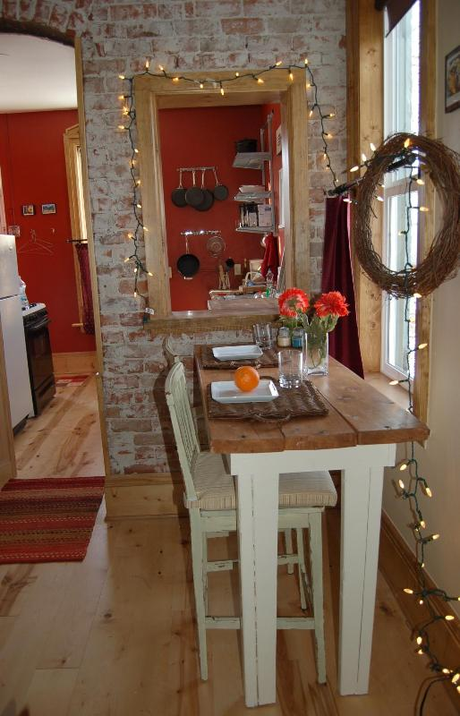 Exposed Brick Wall and Festive Lights Add Charm - Desperately Charming Downtown Studio ~ Quiet - Salida - rentals
