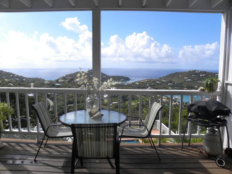 View from lower deck - Sunshine Daydream (aka Coral Breeze)-Cozy Hilltop Villa with Panoramic Ocean Views - Cruz Bay - rentals