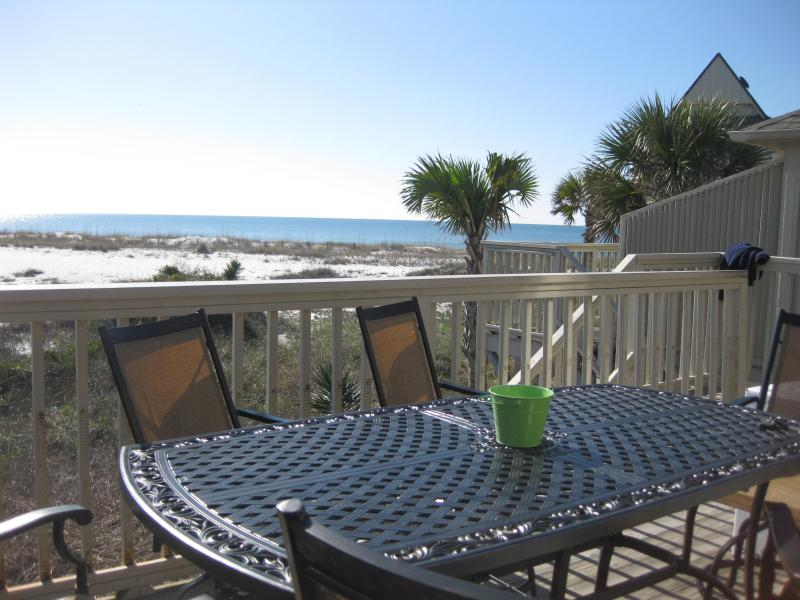 deck with bar height furniture - Molokai Villa B-7 right on the Gulf!  Wi-Fi, Pool - Perdido Key - rentals