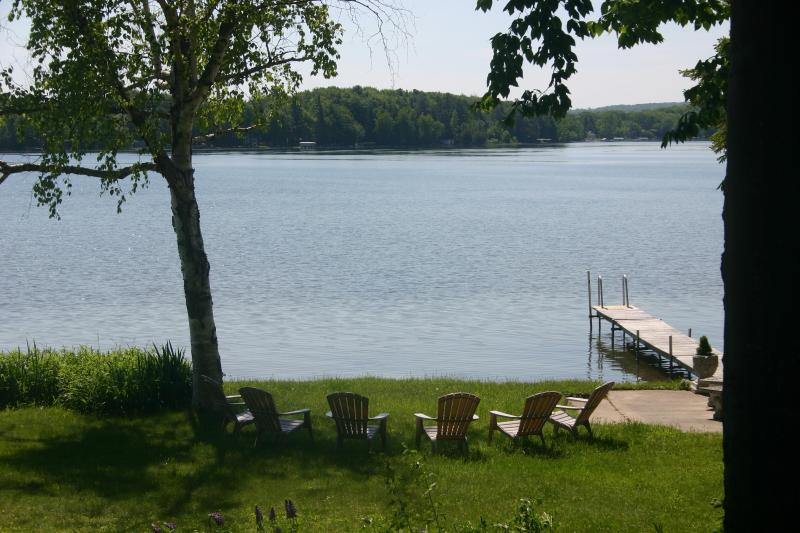 Panoramic view from private double lakefront lot - Picturesque  Lakefront Cottage . Wifi. Kayaks - Interlochen - rentals
