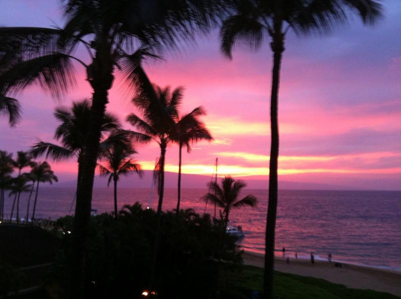 Sunset View from our Lanai - Whaler Fantastic Ocean View Like Ocean Front  Bargain $$$$ - Lahaina - rentals