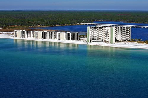 View of Pinnacle Port Resort from helicopter over the Gulf of Mexico - Luxury Condo-Stunning Gulf Views& Sugar White Sand - Panama City Beach - rentals