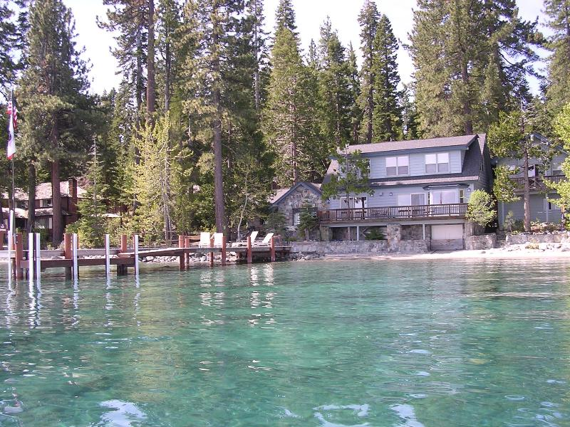 The house seen from the lake. - Westshore Tahoe on the water with pier. Sleeps 12. - Tahoma - rentals