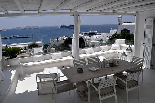 The Veranda and outdoor dining area - House Mykonian town view - Mykonos - rentals