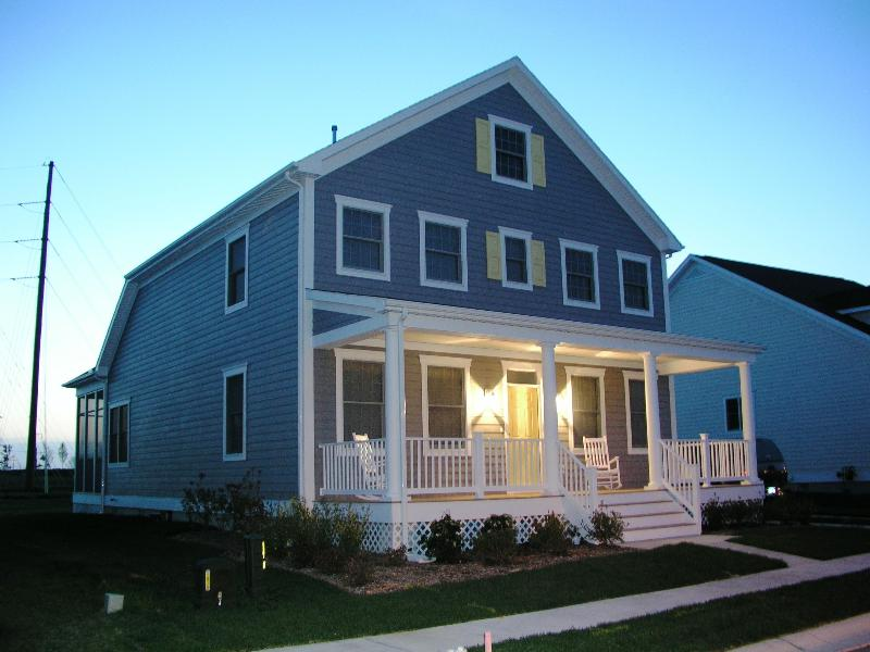 House Front at Dusk - Bear Trap Dunes: Fun In The Sun Get-Away - Ocean View - rentals