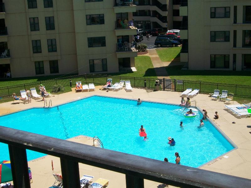 View of pool from balcony - Summer Winds #432--Oceanfront 4BR - Indian Beach - rentals