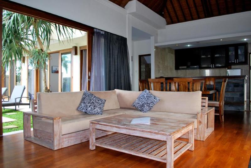 Living Room - features open plan kitchen, TV with Satellite, opens to private pool area - Villa Arena: Affordable 3 Bedroom Villa With Pool - Canggu - rentals