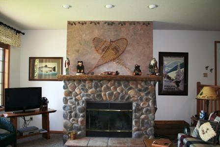 Living area with stone fireplace-wonderful lake and mountain views; - Lake & Mountain Views-Specials Now start at $200 - Lake Placid - rentals