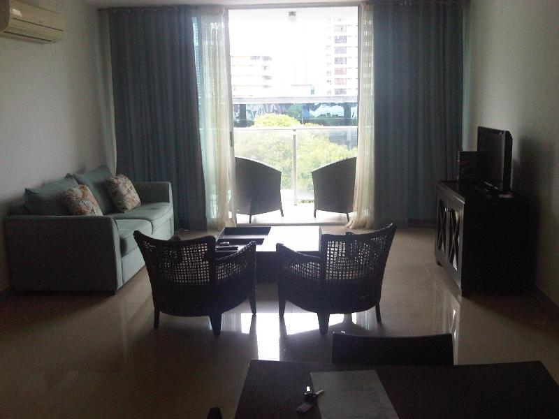 The Palm Living Area + Balcony + View - The 3 Bedroom Palm City Condo - Panama City - rentals