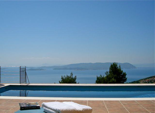 Pool. - 2 Bedroom villa, private pool, grounds & sea views - Glossa - rentals