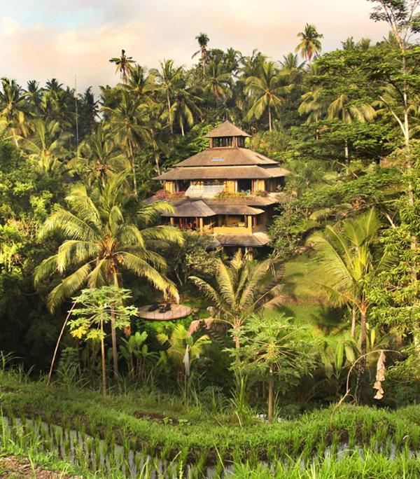 The main house, Villa Pelangi from across the river and rice fields - 2-7-bdr stunning river side Pelangi Estate in Ubud - Ubud - rentals