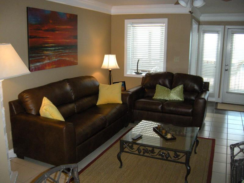 Newly renovated living room with queen size sleeper sofa - Gulf Front. 2 BR, 3 baths, Sleeps 8 - Miramar Beach - rentals