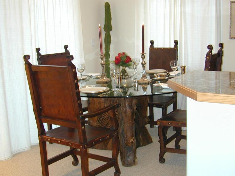 Dining Table - handcarved horse head - Walkin /SkiHome Peaceful Condo MtVillage Telluride - Telluride - rentals