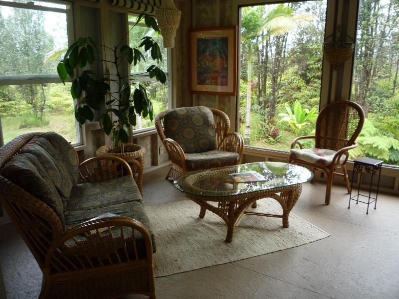 Living area with large windows to view garden. - PRIVATE COTTAGE & TROPICAL  FOREST Near VOLCANO NP - Kurtistown - rentals